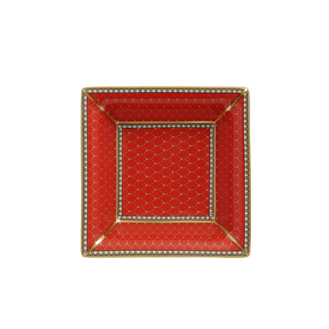 English Fine Bone China | Trinket Tray | Antler Trellis | Square | Red | Halcyon Days | Made in England