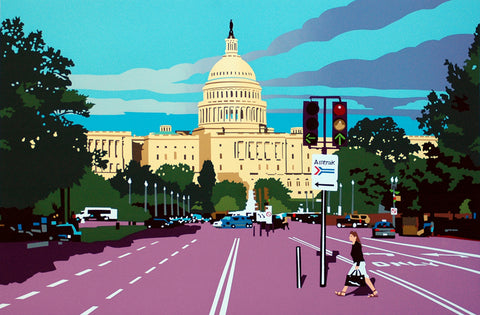 Framed Capitol Afternoon | Capitol Building, Washington, DC Art | Artist Joseph Craig English | 13 by 16 Inches-Giclee Print-Sterling-and-Burke