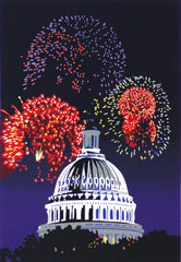Framed Capitol Fireworks | Capitol Dome Giclee by Joseph Craig English | 13 by 16 Inches-Giclee Print-Sterling-and-Burke