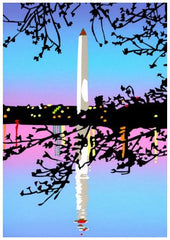 Framed DC Dawn | Washington Monument Art | The Washington Monument, DC at Dawan | Art by Joseph Craig English | 13 by 16 Inches-Giclee Print-Sterling-and-Burke