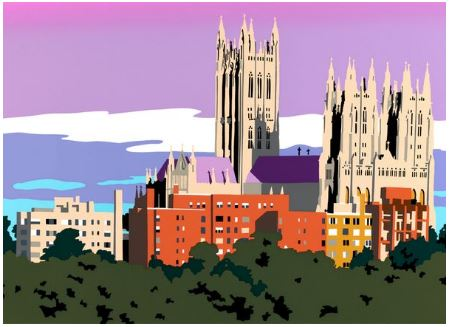 Framed Washington National Cathedral | Washington National Cathedral Art | View from Alban Towers | Art by Joseph Craig English | 13 by 16 inches-Giclee Print-Sterling-and-Burke