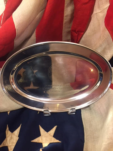 VA Service Award | 40 Years of Service | Engraved Oval Tray with Stand | Sterling and Burke