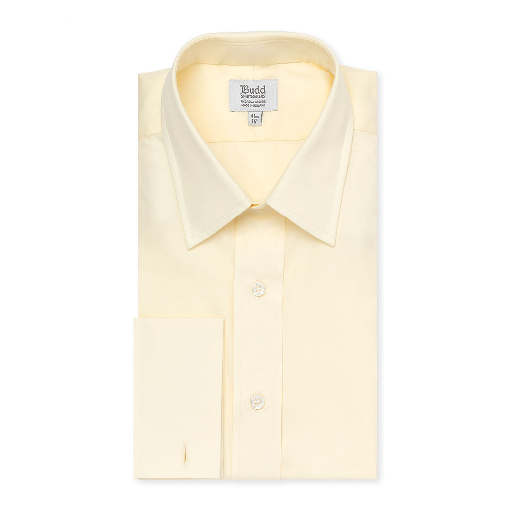 Budd Classic Fit Plain Poplin Double Cuff Shirt in Cream-Dress Shirt-Sterling-and-Burke