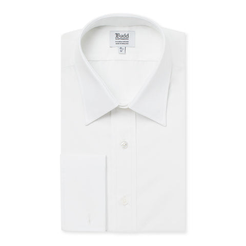 Budd Classic Fit Plain Poplin Double Cuff Shirt in White-Dress Shirt-Sterling-and-Burke