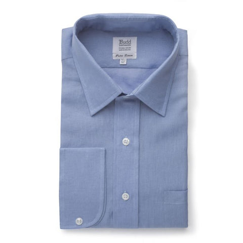 Budd Classic Fit Plain Linen Button Cuff Shirt in Frejus Blue