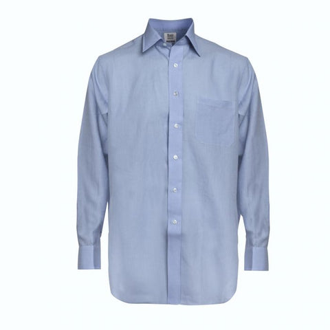 Budd Classic Fit Plain Linen Button Cuff Shirt in Frejus Blue-Ready Made Shirt-Sterling-and-Burke
