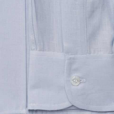 Budd Classic Fit Plain Linen Button Cuff Shirt in Powder Blue-Ready Made Shirt-Sterling-and-Burke