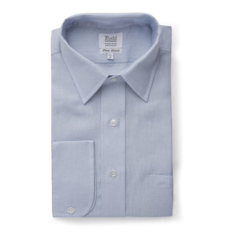 Budd Classic Fit Plain Linen Button Cuff Shirt in Powder Blue