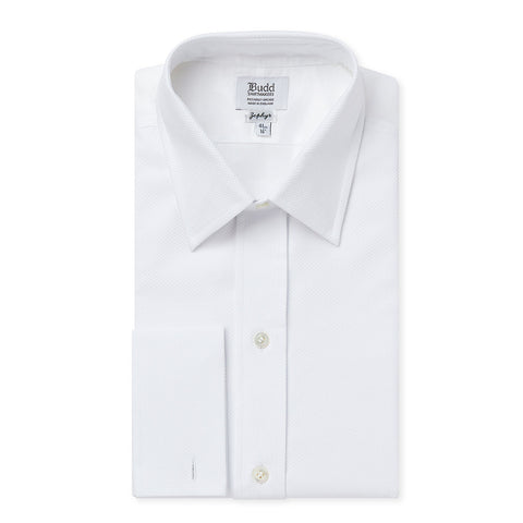 Budd Classic Fit Plain Marcella Double Cuff Dress Shirt in White