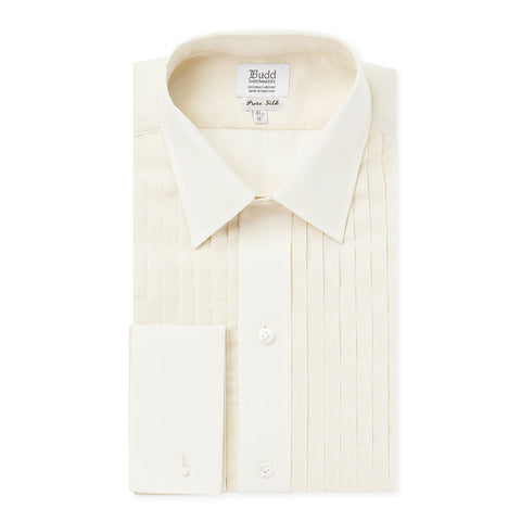 Budd Classic Fit Hand Pleated Cream Silk Dress Shirt in Cream-Dress Shirt-Sterling-and-Burke