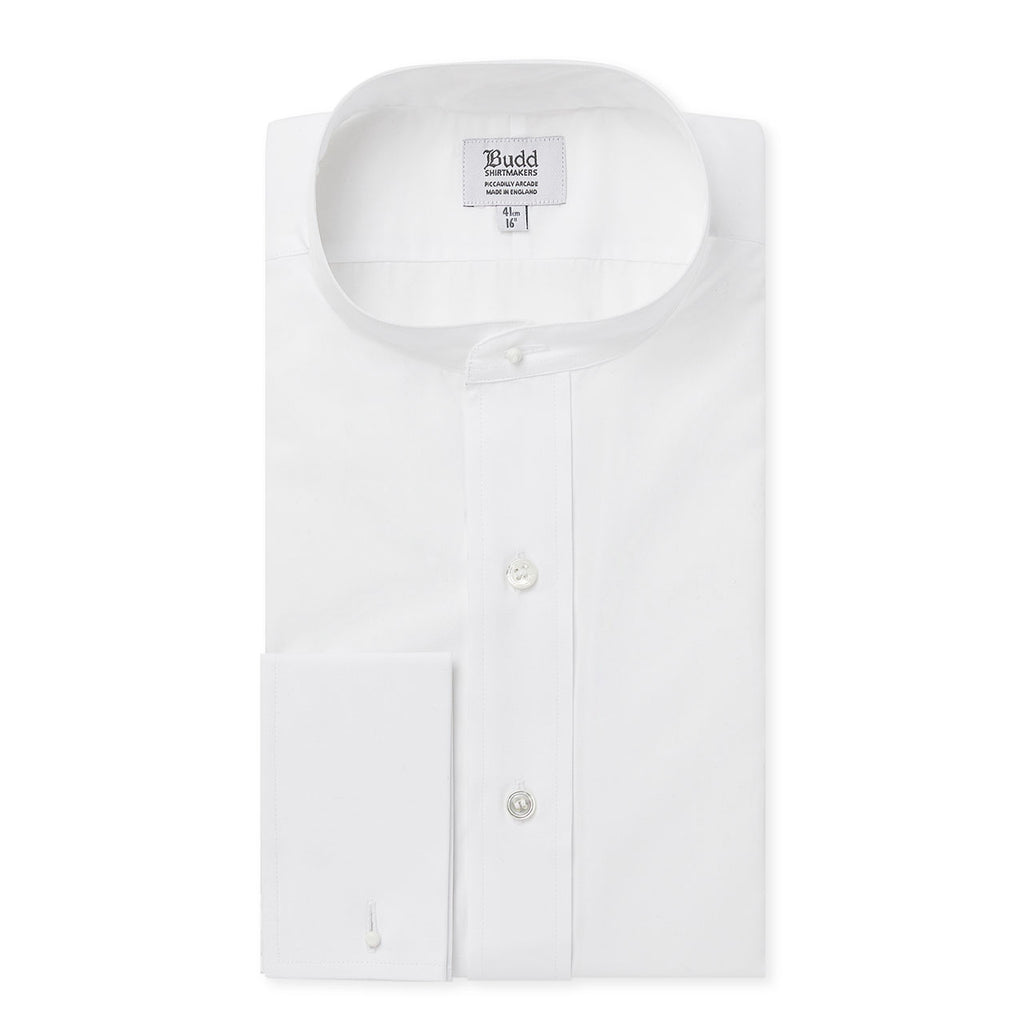 Budd Classic Fit Plain Neckband Poplin Double Cuff Shirt in White-Dress Shirt-Sterling-and-Burke