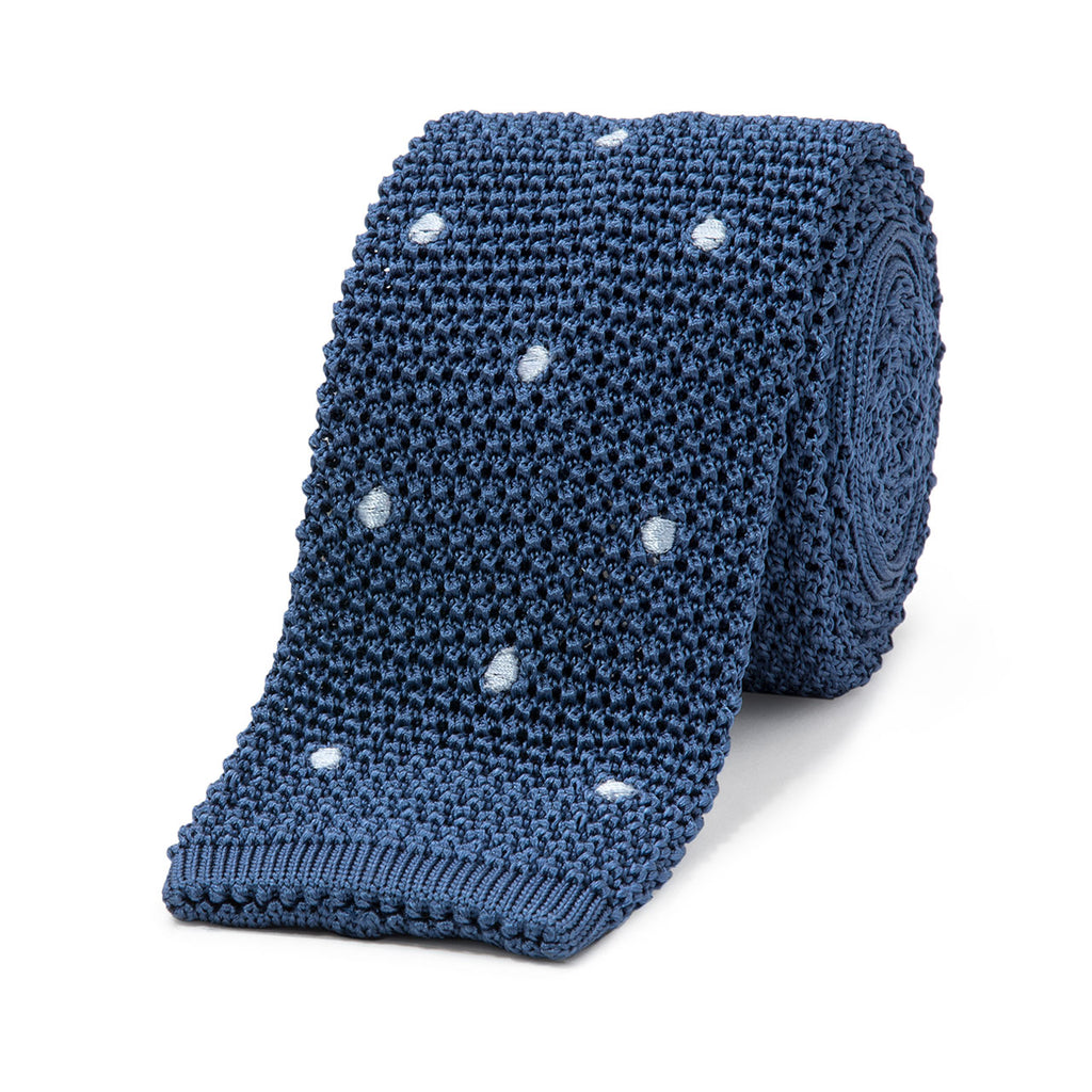 Budd Knit Spot Silk Tie in Lazulite and Celeste-Necktie-Sterling-and-Burke