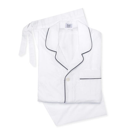 Budd Poplin Men's Pajamas in White and Black