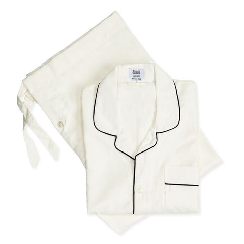 Budd Plain Silk Pyjamas in Cream  and Navy