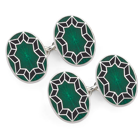 Budd Funky Star Cloisonné Enamel Cufflinks in Green-Cufflinks & Studs-Sterling-and-Burke