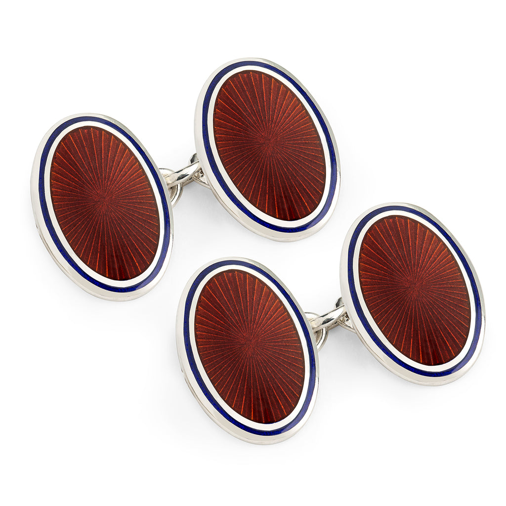 Budd Sunburst Cloisonné Enamel Cufflinks in Red & Navy-Cufflinks & Studs-Sterling-and-Burke