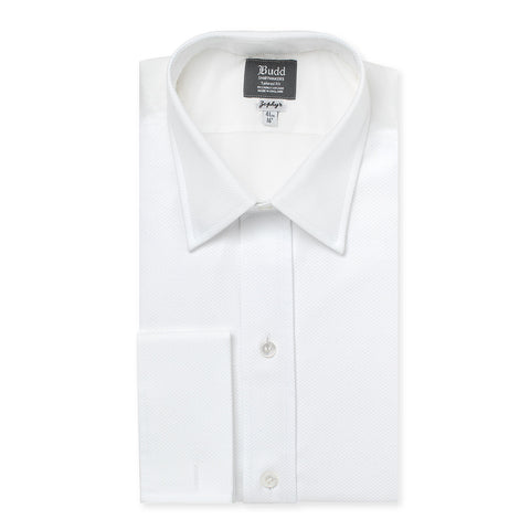 Budd Tailored Fit Plain Marcella Double Cuff Dress Shirt in White