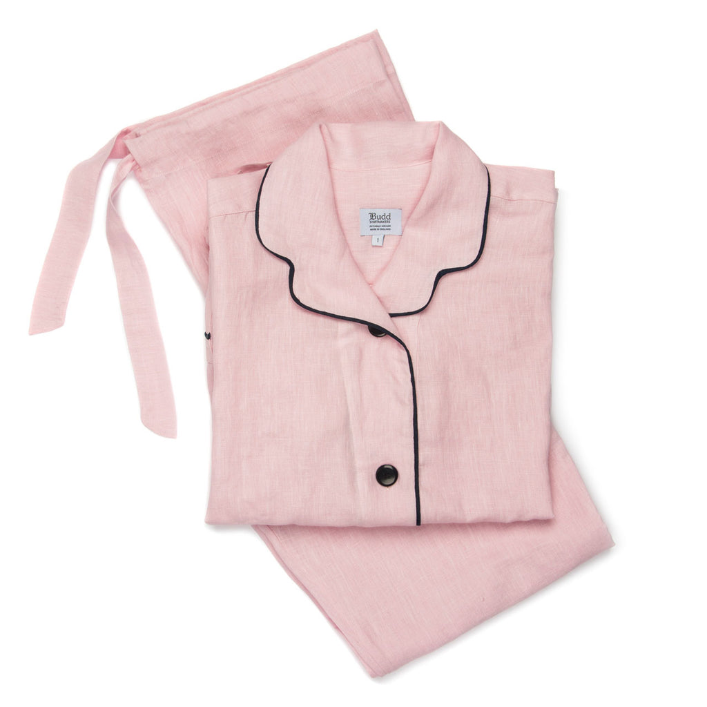 Budd Plain Linen Ladies Pyjamas in Pink and Navy-Ladies Pajamas-Sterling-and-Burke