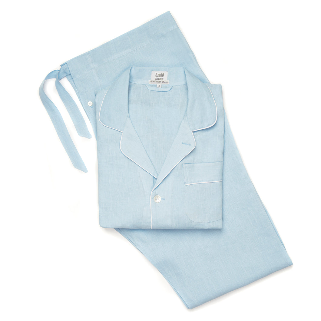 Budd Plain Linen Men's Pajamas in Sky Blue and White-Pajamas-Sterling-and-Burke
