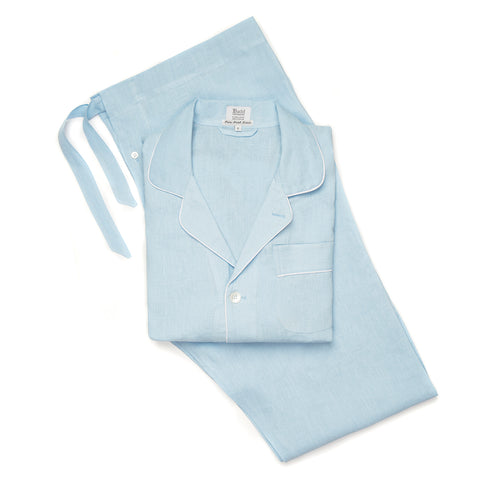 Budd Plain Linen Men's Pajamas in Sky Blue and White
