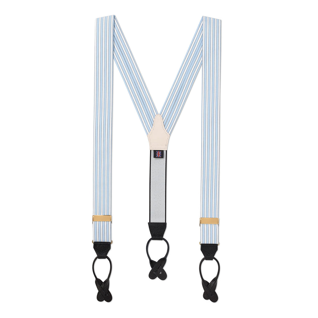 Budd Stripe Braces in Sky Blue-Braces / Suspenders-Sterling-and-Burke