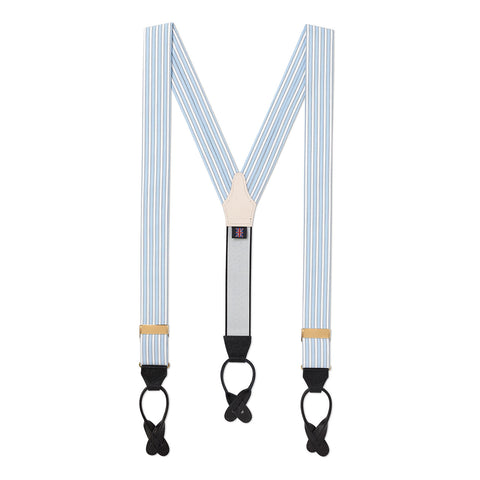 Budd Stripe Braces, Sky Blue | Suspenders | Budd Shirtmakers | Made in England