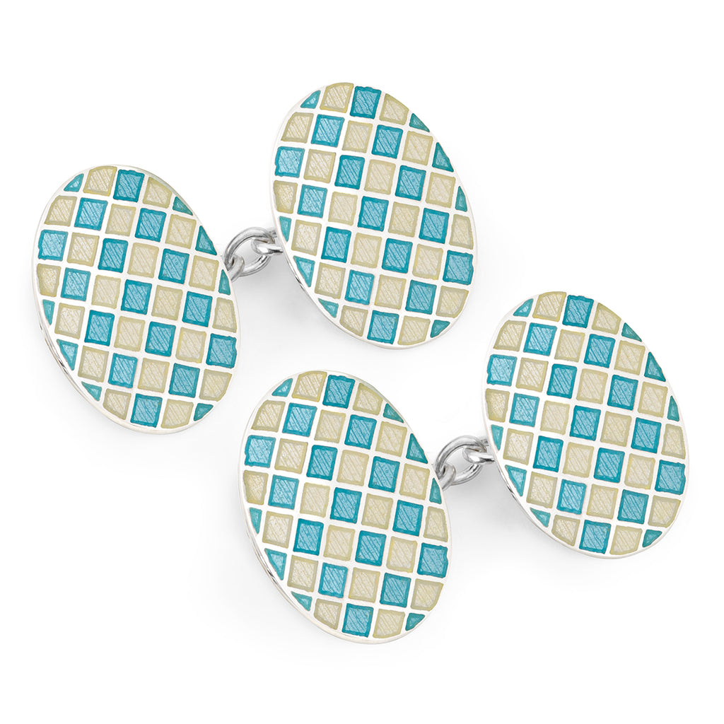 Budd Exclusive Diced Check Cloisonné Enamel Cufflinks in Blue-Cufflinks & Studs-Sterling-and-Burke