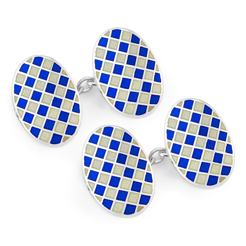 Budd Exclusive Diced Check Cloisonné Enamel Cufflinks in Navy-Cufflinks & Studs-Sterling-and-Burke