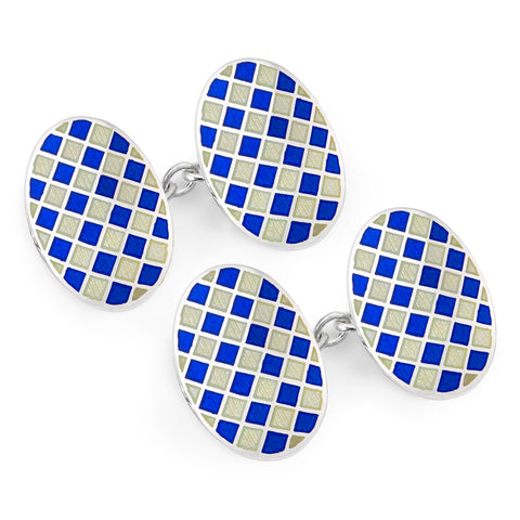 Budd Exclusive Diced Check Cloisonné Enamel Cufflinks in Navy