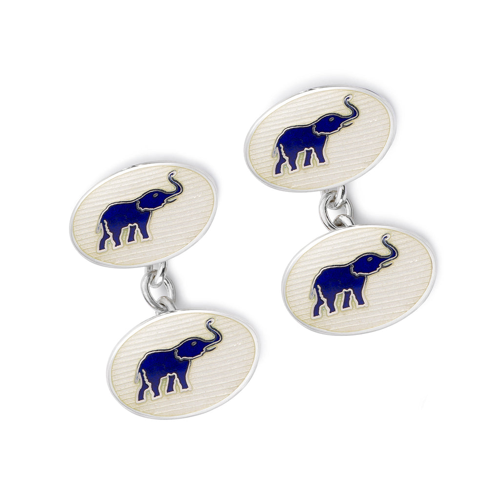 Budd Exclusive Elephants Cloisonné Enamel Cufflinks in White-Cufflinks & Studs-Sterling-and-Burke