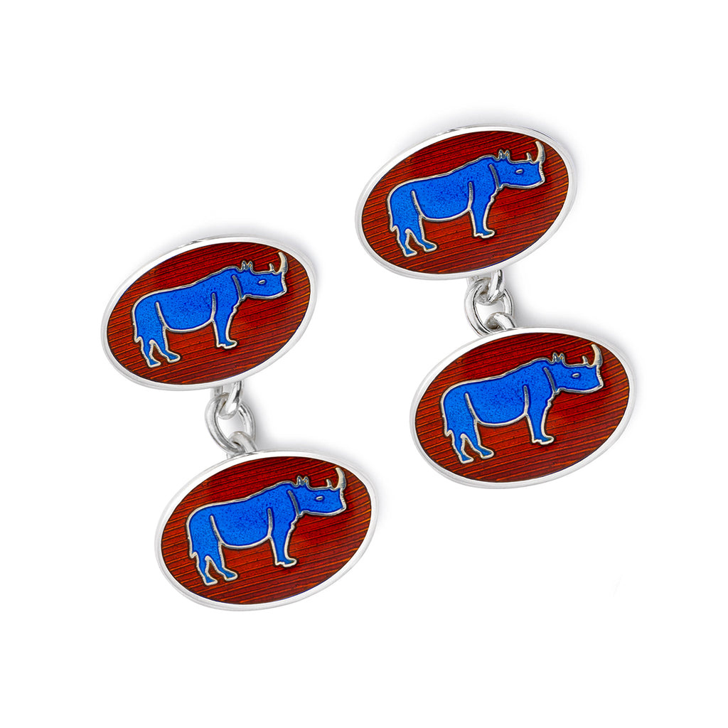Budd Exclusive Rhino Cloisonné Enamel Cufflinks in Blue-Cufflinks & Studs-Sterling-and-Burke