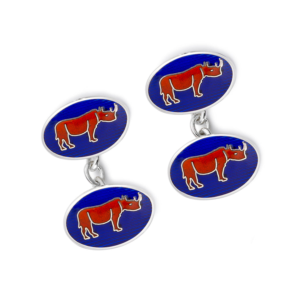 Budd Exclusive Rhino Cloisonné Enamel Cufflinks in Red-Cufflinks & Studs-Sterling-and-Burke