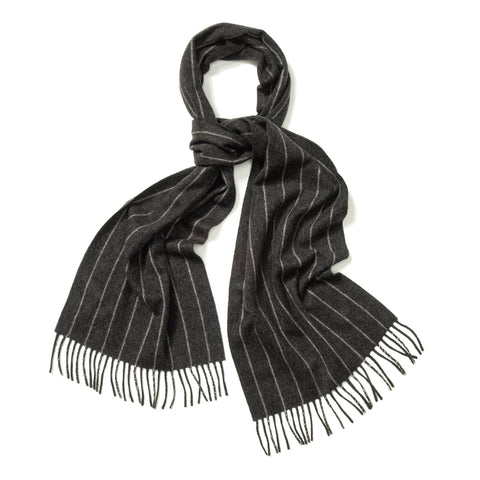 Budd Chalk Stripe Cashmere Scarf in Midsteel and White