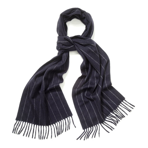 Budd Chalk Stripe Cashmere Scarf in New Blue and Light Grey