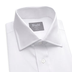Budd Tailored Fit Plain Twill Double Cuff Shirt in White-Ready Made Shirt-Sterling-and-Burke
