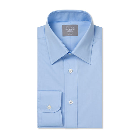 Budd Tailored Fit Plain Poplin Button Cuff in Sky Blue-Ready Made Shirt-Sterling-and-Burke