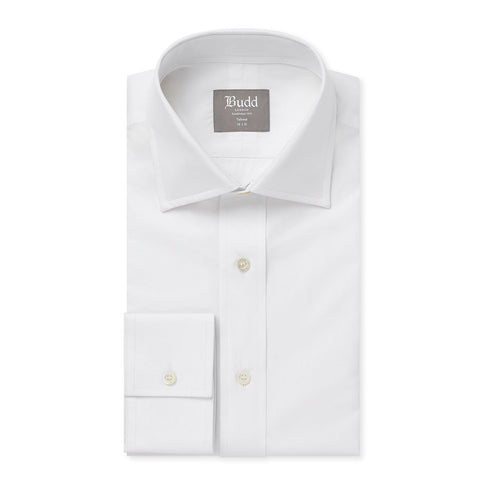 Budd Tailored Fit Plain Poplin Button Cuff in White-Ready Made Shirt-Sterling-and-Burke