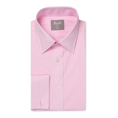 Budd Tailored Fit Plain Poplin Double Cuff in Pink