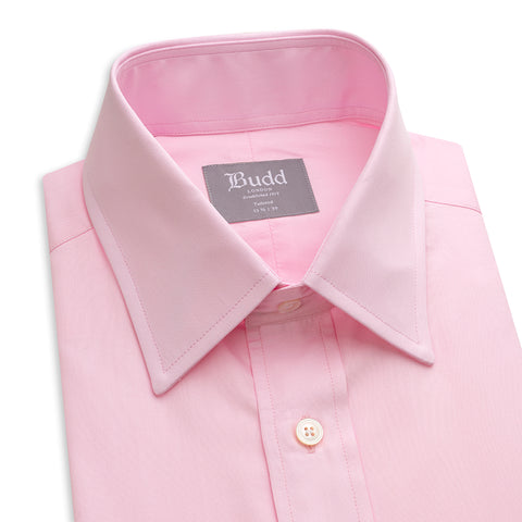 Budd Tailored Fit Plain Poplin Double Cuff in Pink-Ready Made Shirt-Sterling-and-Burke