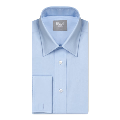 Budd Tailored Fit Plain Poplin Double Cuff in Sky Blue-Ready Made Shirt-Sterling-and-Burke