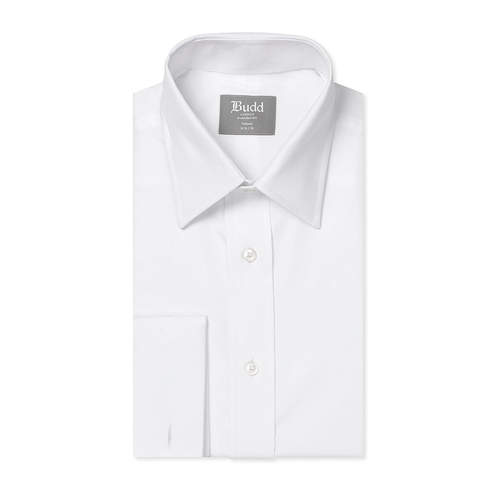 Budd Tailored Fit Plain Poplin Double Cuff in White-Ready Made Shirt-Sterling-and-Burke