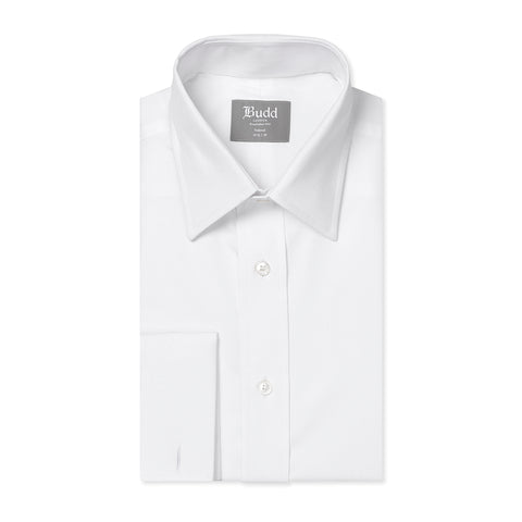Budd Tailored Fit Plain Poplin Double Cuff in White