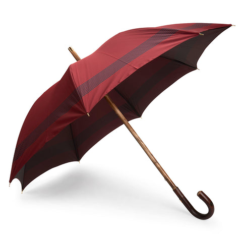 Horizontal Stripe Poly-Cotton Umbrella in Burgundy and Navy