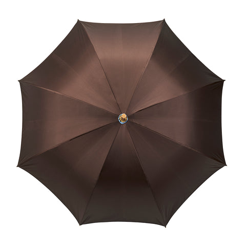 Budd Double Face Poly-Cotton Umbrella in Brown and Teal-Umbrella-Sterling-and-Burke