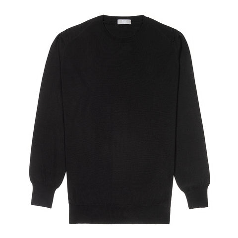 Budd Wool Crew Neck Sweater in Black