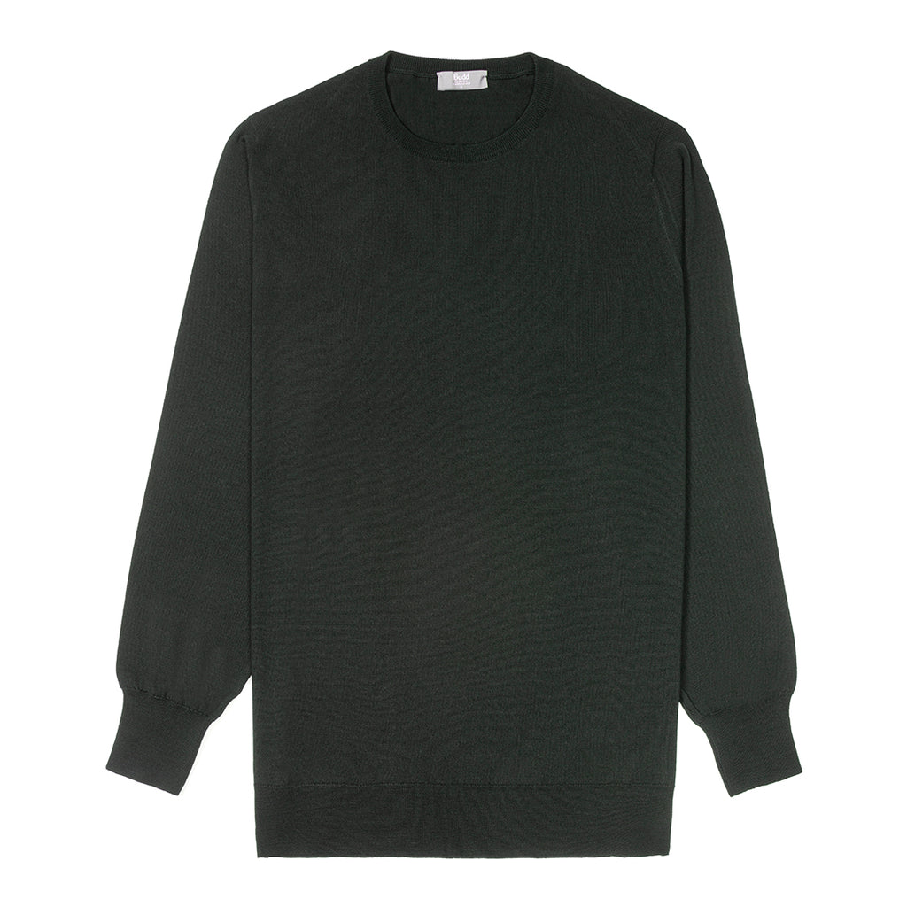 Budd Wool Crew Neck Sweater in Bottle-Sweater-Sterling-and-Burke