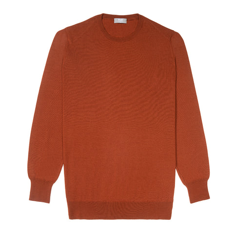 Budd Wool Crew Neck Sweater in Cayenne
