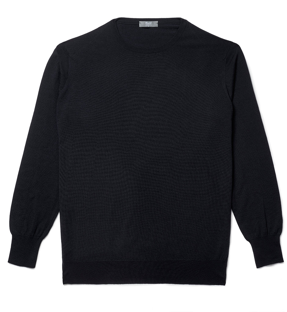 Budd Wool Crew Neck Sweater in Dark Navy-Sweater-Sterling-and-Burke