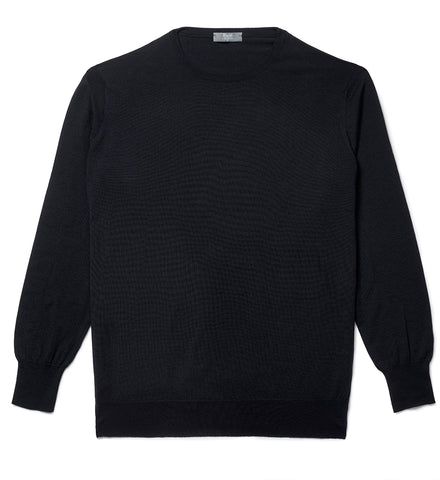 Budd Wool Crew Neck Sweater in Dark Navy