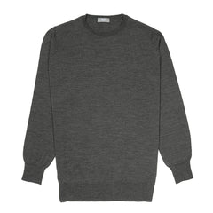 Budd Wool Crew Neck Sweater in Smoke-Sweater-Sterling-and-Burke
